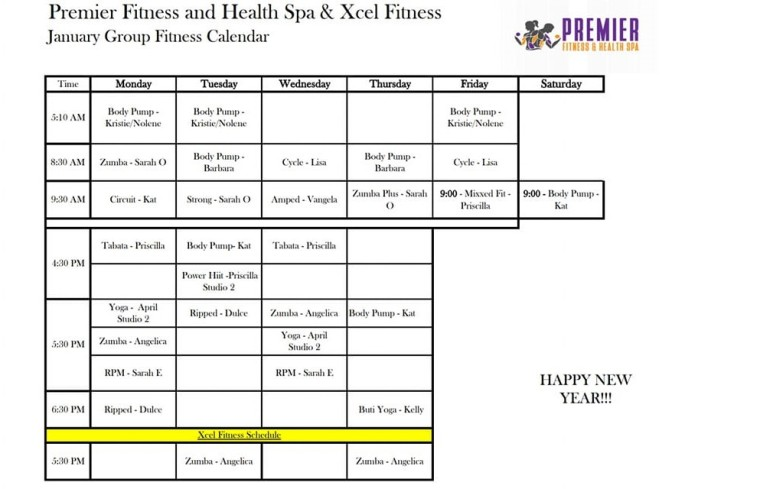 January Group Fitness schedule 2019