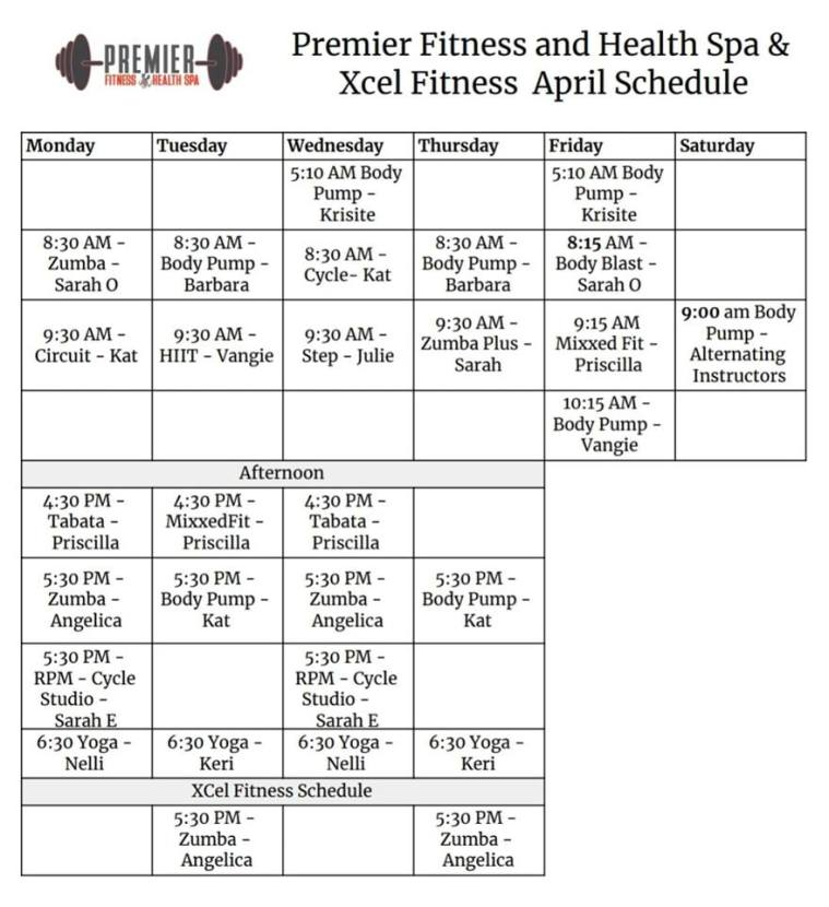 April Group Fitness Schedule 2019