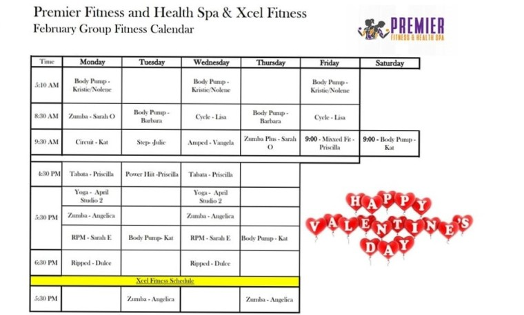 Febuary group fitness schedule 2019 - Copy