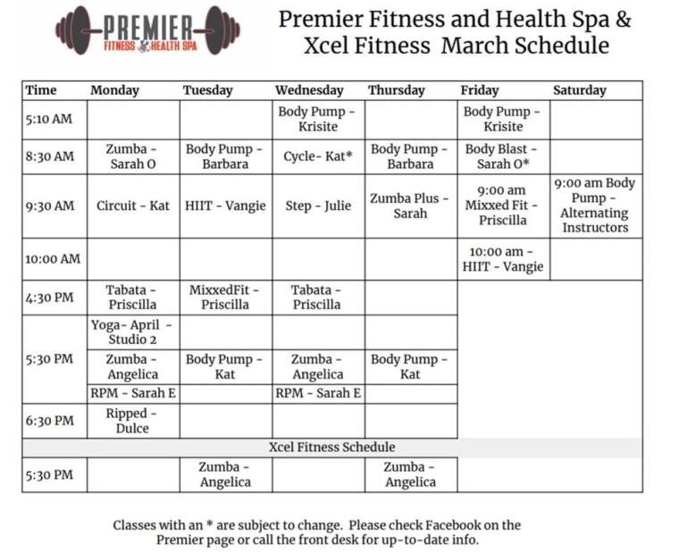 March Group Fitness Schedule 2019