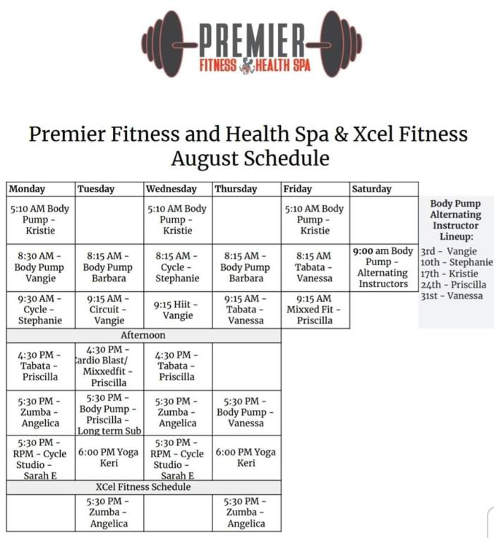 August Group Fitness classes 2019