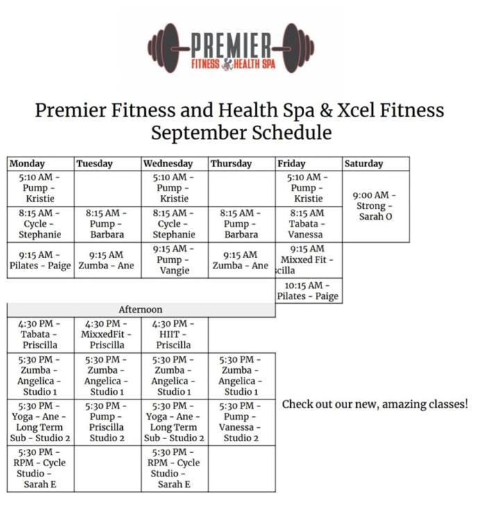 September 2019 Group Fit Classes